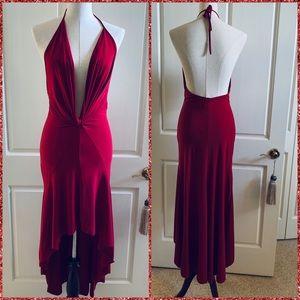 Deep plunging ruffle high low asymmetrical dress